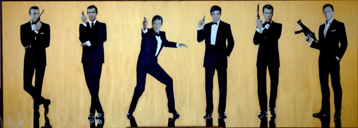 """Painting titled """"'CLASSIC BOND GOLD"""""""" by Hayo Sol, Original Art, Acrylic"""