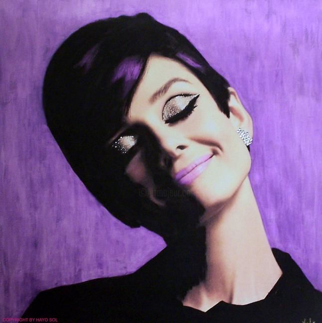 """Painting titled """"AUDREY - 'Purple'"""" by Hayo Sol, Original Art, Oil"""