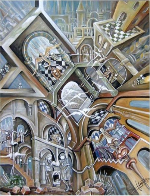 Monde IV, l'évasion - Painting,  35.4x27.6 in, ©2007 by Hazoo -