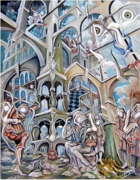 Le palais du temps - Painting,  35.4x27.6 in, ©2008 by Hazoo -