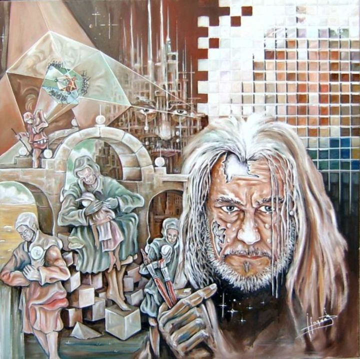 autoportrait et mon univers - Painting,  39.4x39.4 in, ©2006 by Hazoo -                                                                                                                          Surrealism, surrealism-627