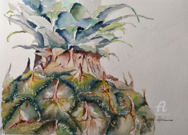 """Painting titled """"Pineapple Crown"""" by Horacio Cobas, Original Art, Watercolor"""