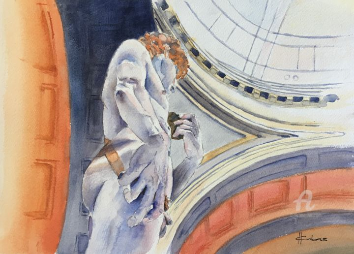 """Painting titled """"David by Michelange…"""" by Horacio Cobas, Original Art, Watercolor"""