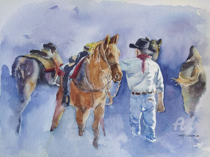 """Painting titled """"Getting Ready for a…"""" by Horacio Cobas, Original Art, Watercolor"""
