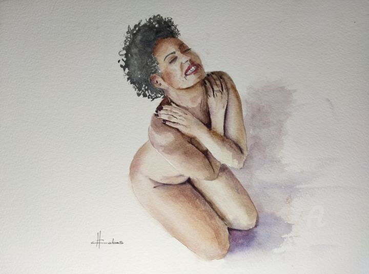 """Painting titled """"Morning Smile"""" by Horacio Cobas, Original Art, Watercolor"""