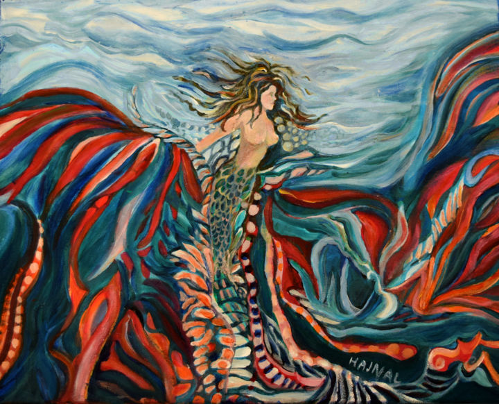 Sea Maid - Painting,  15.75x20x0.75 in ©2019 by Hajnal V. Csorba -                                                                    Abstract Expressionism, Abstract Art, Angels, Fairytales, mermaid, sea, ocean, fantasy, abstract, painting, water, woman, fins, tail, fish, breasts