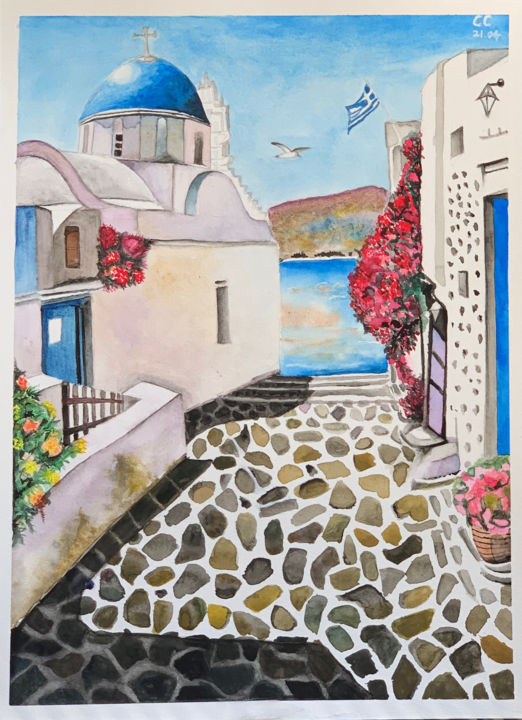 """Painting titled """"Santorini Greece"""" by Cheng Chen, Original Art, Watercolor"""