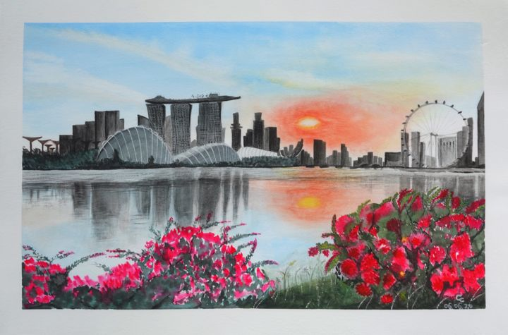 """Painting titled """"Singapore"""" by Cheng Chen, Original Art, Watercolor"""
