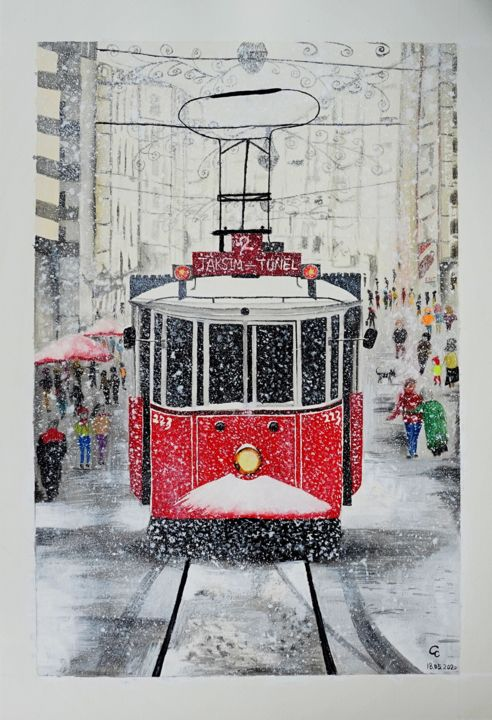 """Painting titled """"Istanbul Beyoglu Tr…"""" by Cheng Chen, Original Art, Watercolor"""