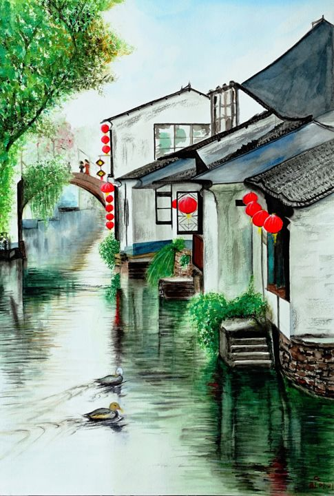 """Painting titled """"""""Venice of the East…"""" by Cheng Chen, Original Art, Watercolor"""