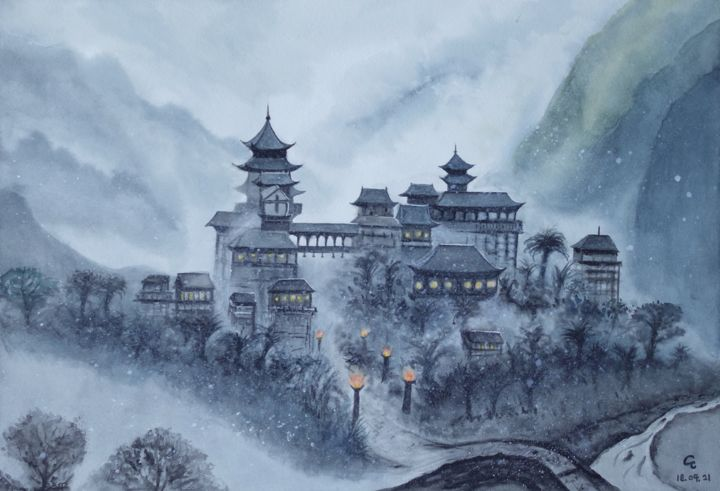 """Painting titled """"Snowing Valley"""" by Cheng Chen, Original Art, Watercolor"""