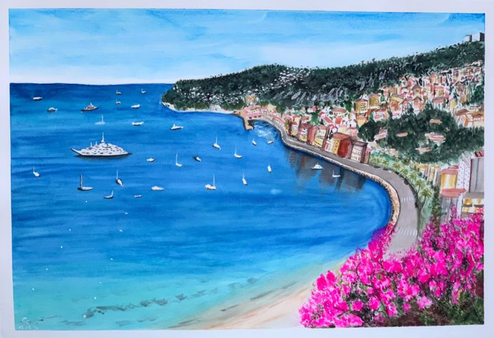 """Painting titled """"Monte Carlo"""" by Cheng Chen, Original Art, Watercolor"""