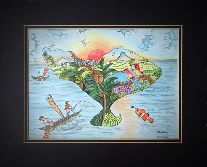"""Painting titled """"Bali Life"""" by Cheng Chen, Original Art, Watercolor"""