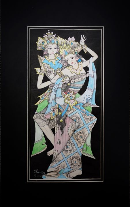 """Painting titled """"Balinese Couple God"""" by Cheng Chen, Original Art, Watercolor"""