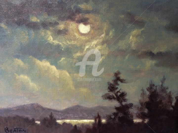 """Painting titled """"Moonlight"""" by Heather Beaton, Original Art, Oil"""