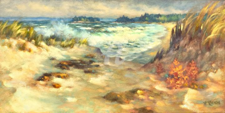 """Painting titled """"Sand and Surf"""" by Heather Beaton, Original Art, Oil"""