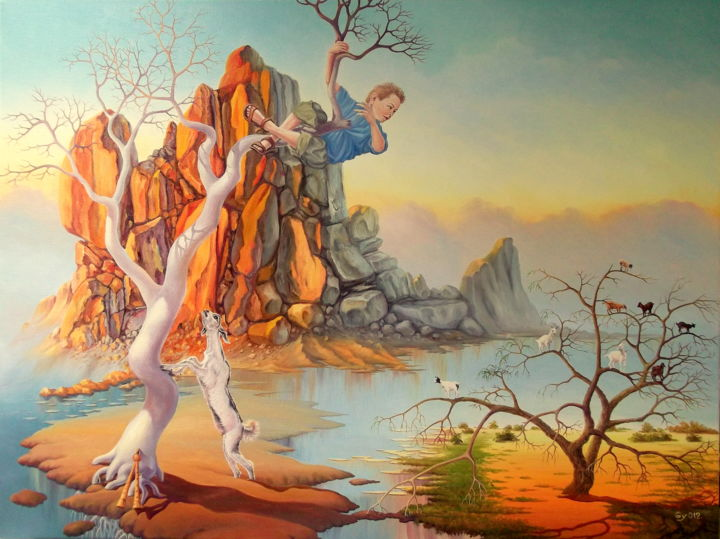 """Painting titled """"A dream of Pan Nick"""" by Gyuri Lohmuller, Original Art, Oil Mounted on Stretcher frame"""