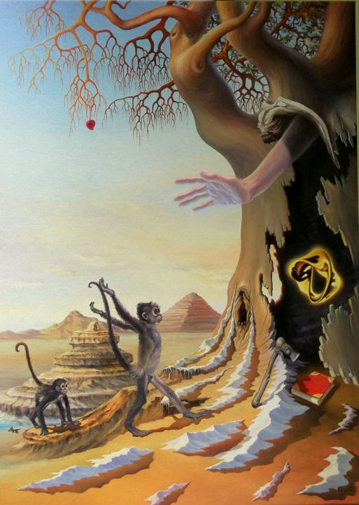 """Painting titled """"Rise up and walk"""" by Gyuri Lohmuller, Original Art, Oil Mounted on Stretcher frame"""