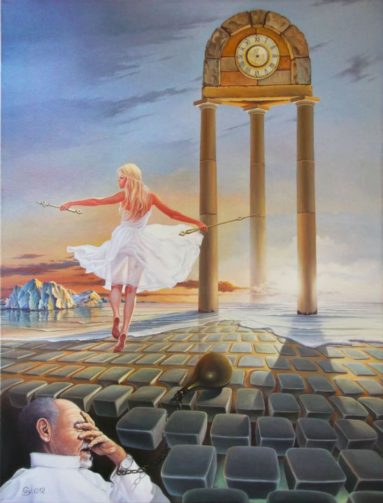 Time robbers - Painting,  31.5x23.6 in, ©2012 by Gyuri Lohmuller -                                                                                                                                                                                                                                                                                                                                                                                                                                                                                                                                                                                          Conceptual Art, conceptual-art-579, Fantasy, Love / Romance, Men, Mortality, Time, time, woman, man, chain, age