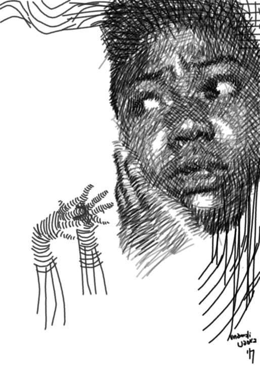 """Drawing titled """"fear2"""" by Hector Udoka, Original Art, Digital Photography"""