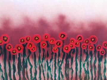 """Printmaking titled """"Poppies In The Even…"""" by Heidi Elmore, Original Art,"""
