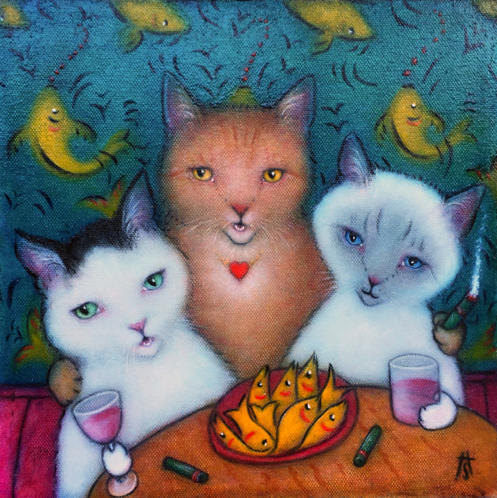 """Painting titled """"Girls Night Out"""" by Heidi Shaulis, Original Art, Oil"""