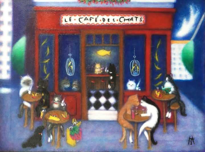 """Painting titled """"Le Cafe des Chats"""" by Heidi Shaulis, Original Art, Oil Mounted on Stretcher frame"""