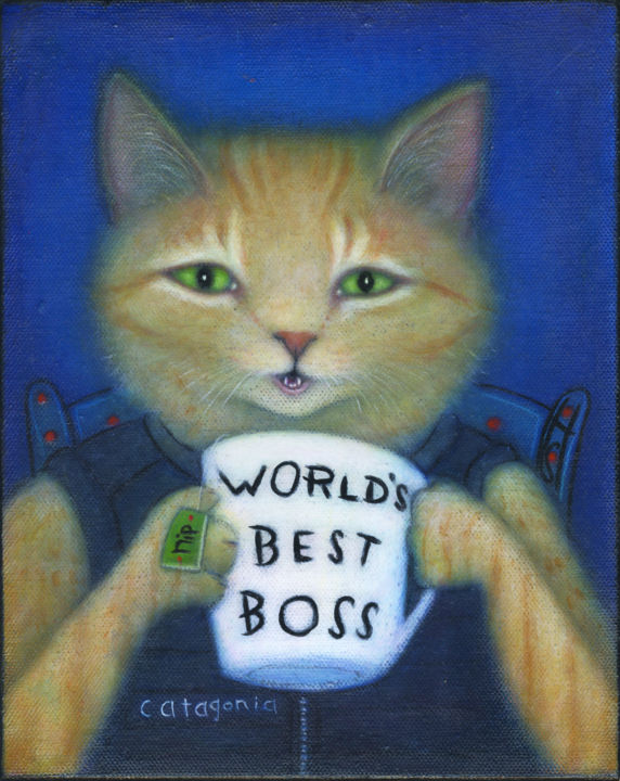 """Painting titled """"World's Best Boss"""" by Heidi Shaulis, Original Art, Oil Mounted on Stretcher frame"""