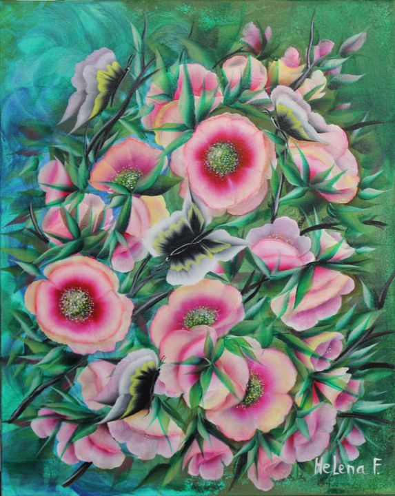 """Painting titled """"Flowers on Green"""" by Helena Faitelson, Original Art, Acrylic"""