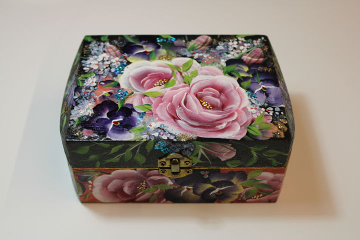 """Painting titled """"Box with roses"""" by Helena Faitelson, Original Art, Acrylic"""