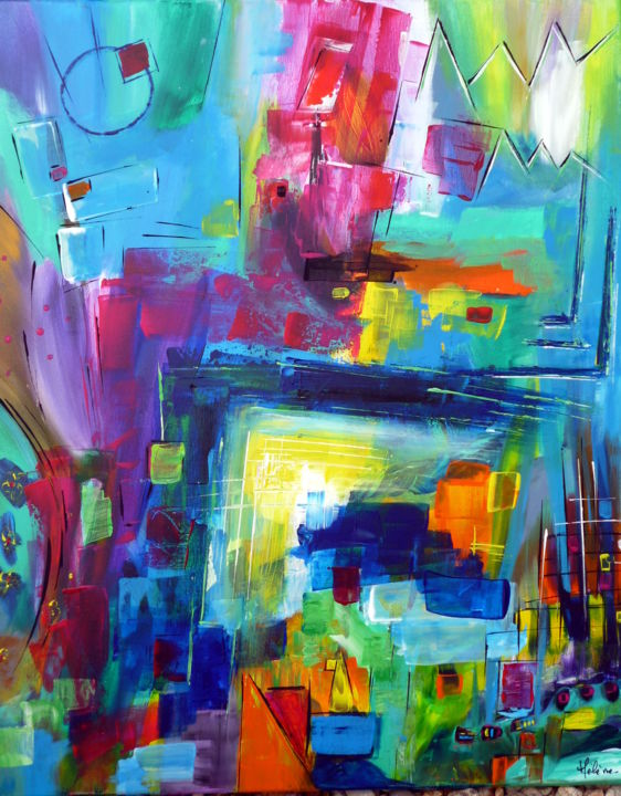 Variation chromatique - Painting,  28.7x23.6 in, ©2020 by Helene Rousselot -