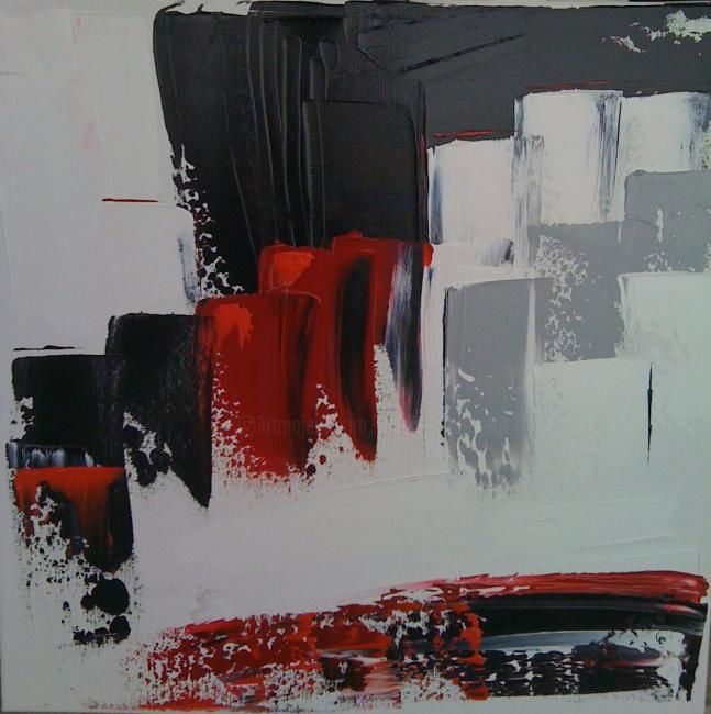 I like New York - Painting,  15.8x15.8 in, ©2011 by Hélène Rousselot -