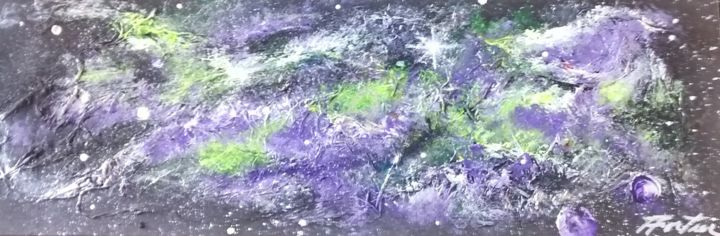 interstellaire8x30tm.jpg - Painting,  8x30 in, ©2015 by Hélène Fortier -                                                                                                                                                                          Abstract, abstract-570, Outer Space