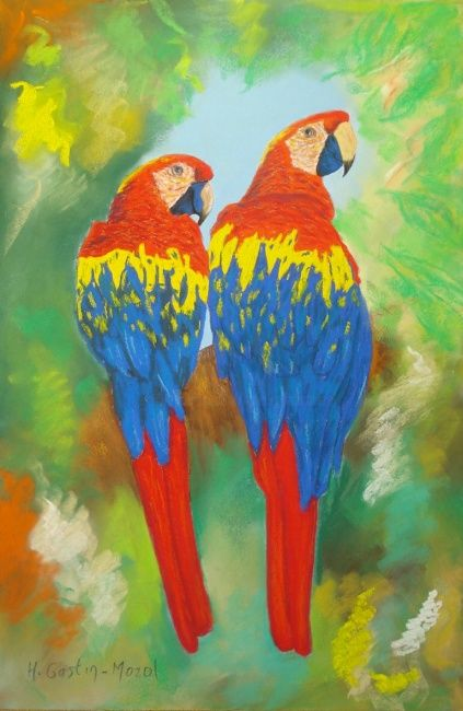 Le couple - Painting,  19.7x12.6 in, ©2011 by Hélène Gastin-Mozol -                                                                                                                                                                          Figurative, figurative-594, Couple de perroquets
