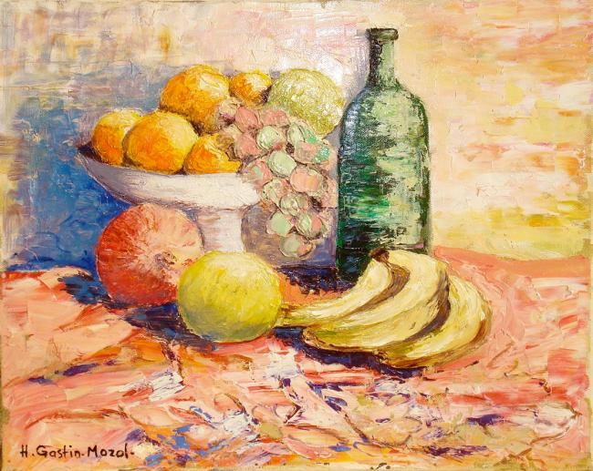 Coupe de fruits - Painting,  41x33 cm ©2012 by Hélène Gastin-Mozol -                            Abstract Expressionism, Tableau d'une coupe de fruits d'Automne
