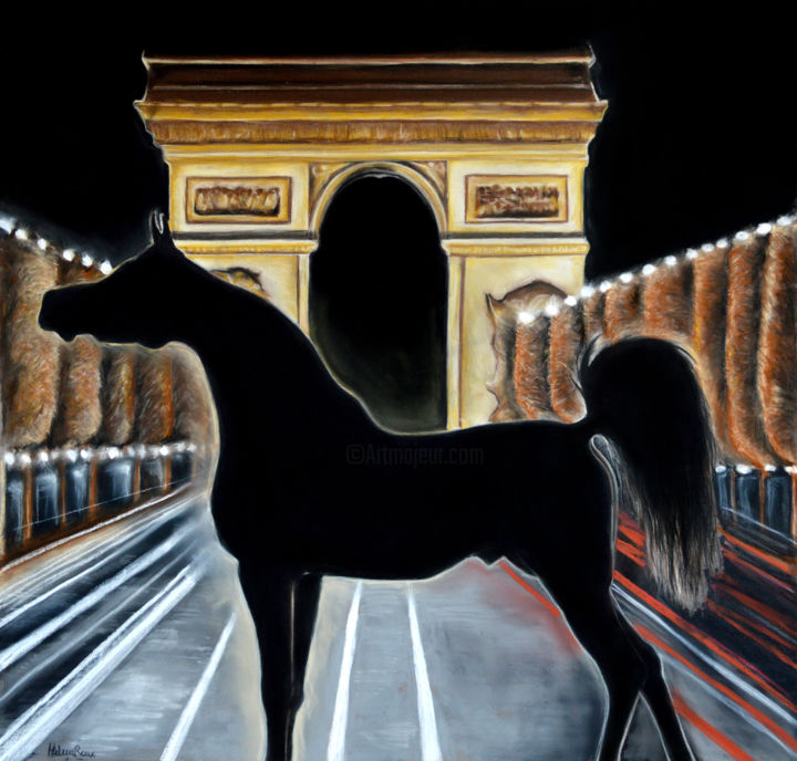Paris by night - Drawing,  50x51 cm ©2017 by HELENE ROUX -                                                                                                            Figurative Art, Paper, Animals, Architecture, Horses, Landscape, Cities, Ville, Art paris, paris, horse, cheval, chevaux, caballo, cavallo, city, horse art, arc de triomphe