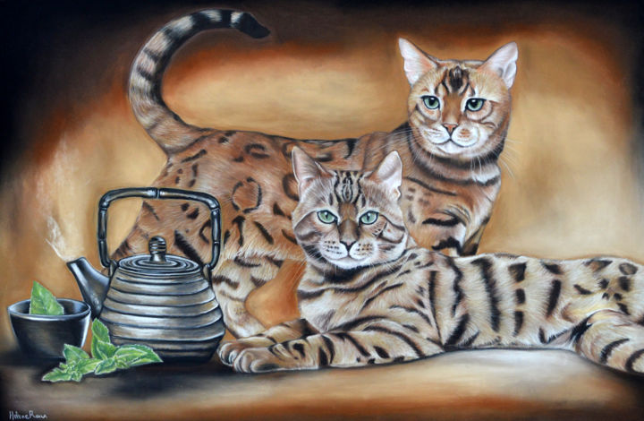 Tea time - Drawing,  43x65 cm ©2018 by HELENE ROUX -                                                                    Figurative Art, Paper, Animals, Cats