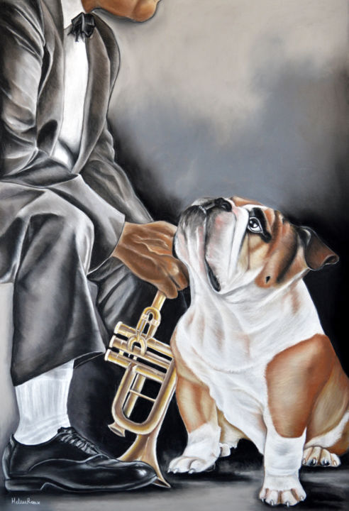 Jazz - Drawing,  65x45 cm ©2018 by HELENE ROUX -                                                                                    Figurative Art, Paper, Animals, Dogs, Music, Jazz, Hélène Roux, Bouledogue, chien bouledogue, Dog, Musique, Aniamaux, Art à vendre
