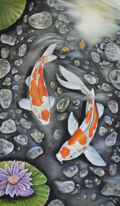 Zen - Drawing,  50x30 cm ©2018 by HELENE ROUX -                                                                                    Figurative Art, Paper, Animals, Fish, Spirituality, Poisson, Poissons, Carpe Koi, Koi, Bassin, fish, zen, relaxation, carp