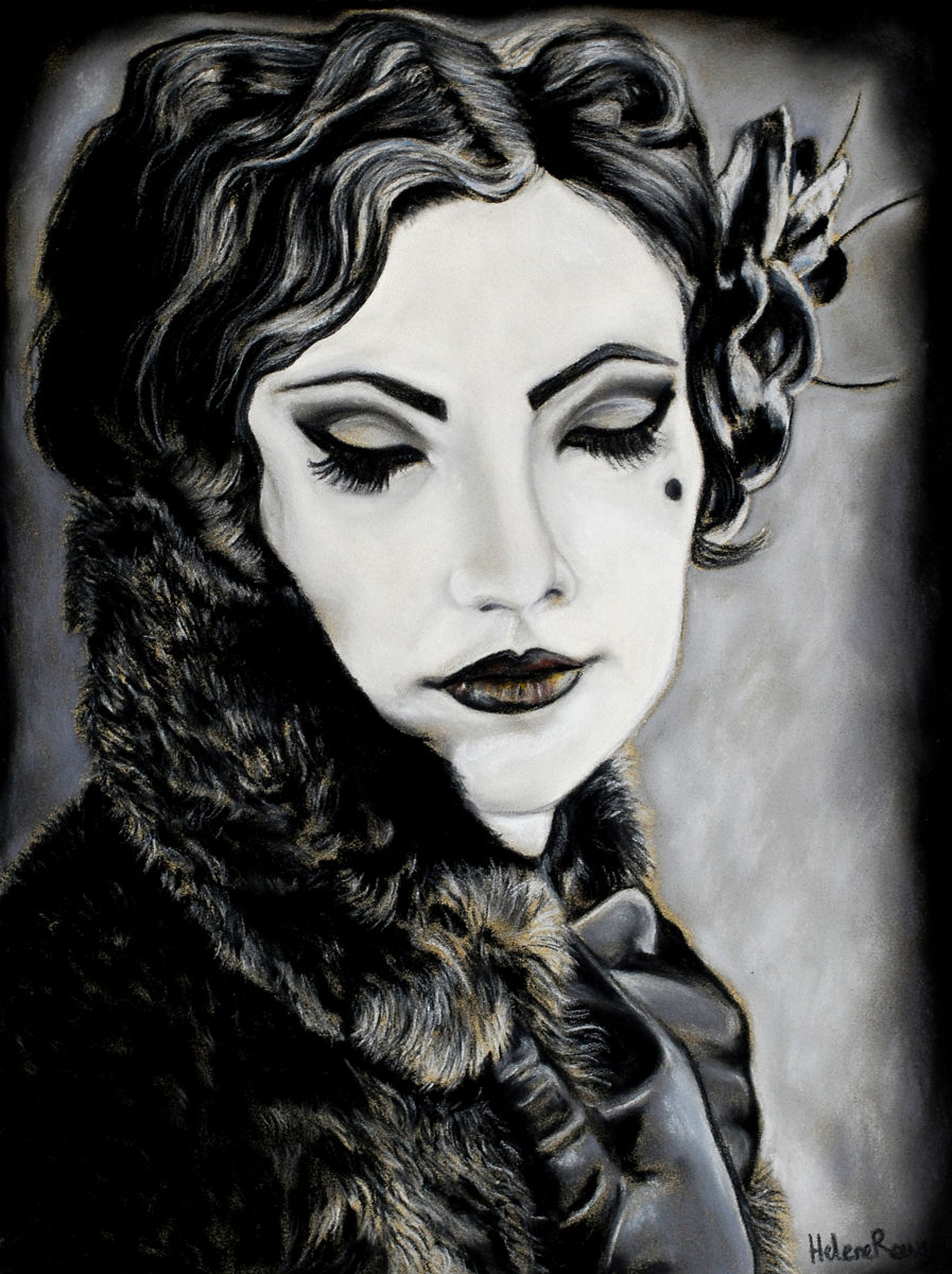 Drawing,  32 x 24 cm ©2012 by Hélène Roux -  Drawing, Femme gothique, Lady in black, Black Lady, Style baroque, Art gothique, gothic lady, gothic art, gothic woman, fille gothique, gothique