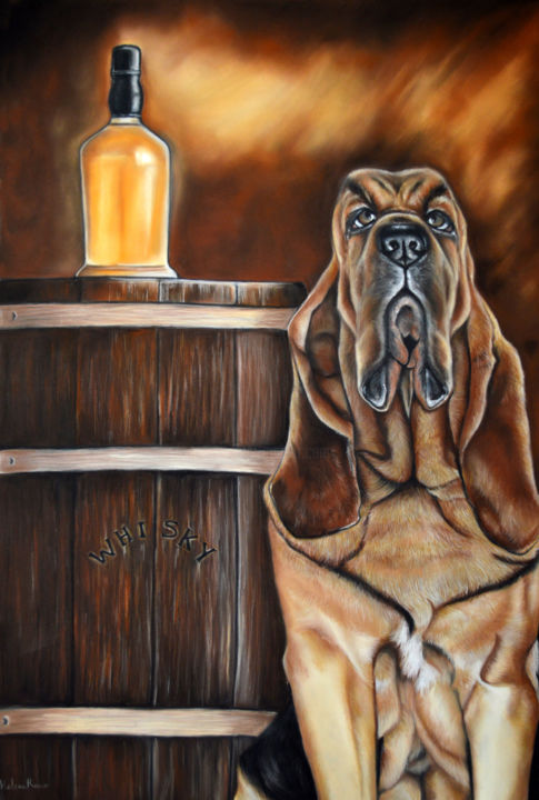 Scotland distillery - Drawing,  62x41 cm ©2016 by HELENE ROUX -                                                                    Paper, Animals, Dogs, Food & Drink, ‬ ‪‎Chien, ‬ ‪‎Whiskey, Distillerie, Distillery, Dog, Whisky, Scotland, Perro, Cane, Hund, Alcool, Alcohol
