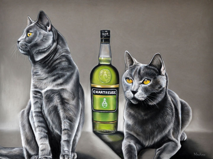 Chartreuse - Drawing,  37.5x50 cm ©2016 by HELENE ROUX -                                                                                    Figurative Art, Paper, Animals, Cats, Food & Drink, Chat, Cat, Chartreux, Chartreuse, Chat de race, Gato, Gatto, Katze, Dessin chat, Art chat, Peinture chat, Art a vendre, Art for sale