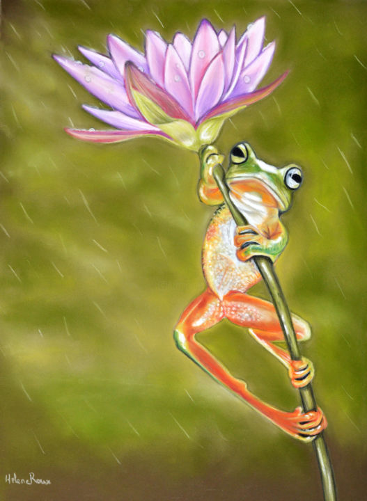 Jour de pluie | - Drawing,  32x24 cm ©2016 by HELENE ROUX -                                                                        Figurative Art, Paper, Animals, Botanic, Animaux, Animal, Grenouille, Frog, Pluie, Rain, Fleurs, Flowers, Art à vendre, Art animalier, Art for solde, Hélène Roux, Drawing, Painting, Animal painting