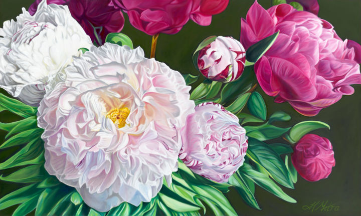 """Painting titled """"Peony Bouquet"""" by Helen Mitra, Original Art, Oil"""