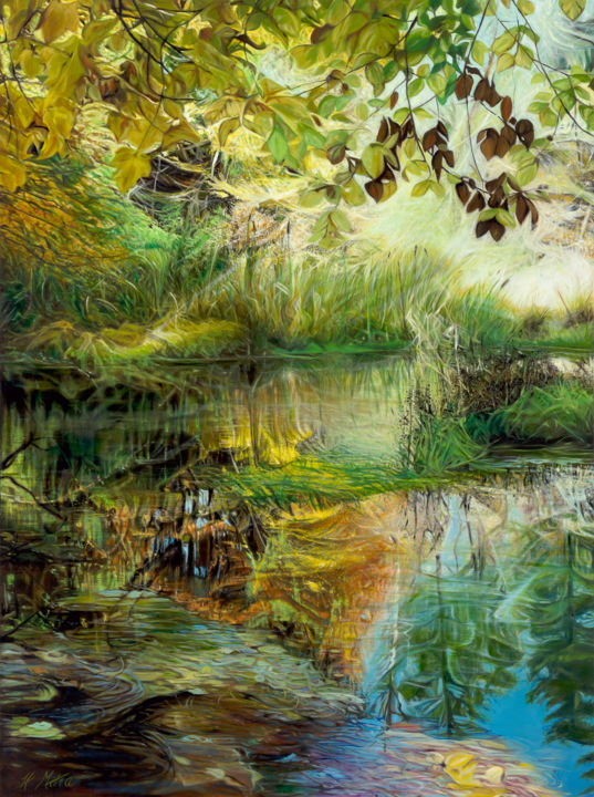 """Painting titled """"Nature's First Gree…"""" by Helen Mitra, Original Art, Oil"""