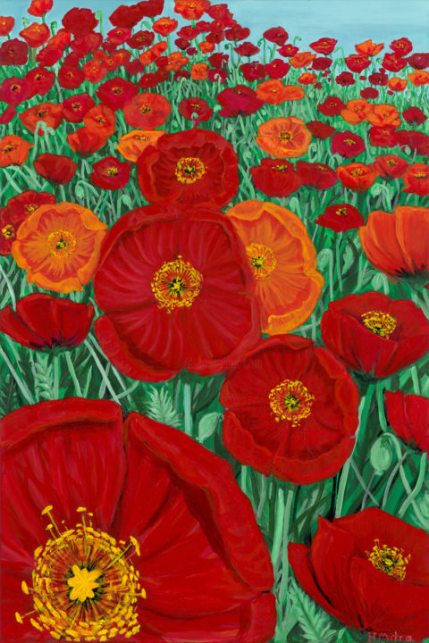 """Painting titled """"My Field of Poppies"""" by Helen Mitra, Original Art, Acrylic"""