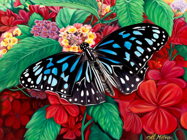 """Painting titled """"The Blue Butterfly"""" by Helen Mitra, Original Art, Oil"""