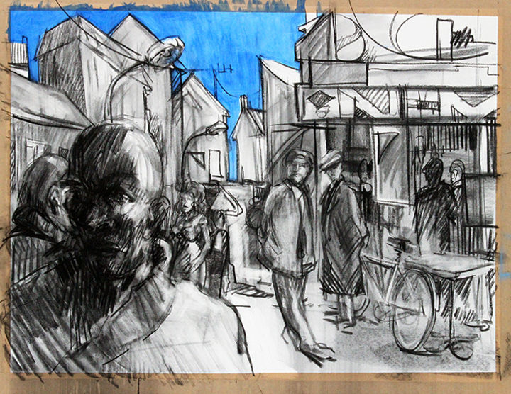 Regards - Drawing,  23.6x31.5 in, ©2017 by Stéphane Helliot -                                                                                                                                                                                                                                                                                                                                                                                                                                                                                                                                                                                                                                      Figurative, figurative-594, Architecture, regards, paysage, urbain, urban, landscape, city, life, personnages, rue, street