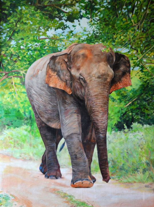 A Lonely Walk - Painting,  40x30x1.5 in ©2018 by Hemantha Warakapitiya -                                                                    Conceptual Art, Environmental Art, Modernism, Animals, Animal Paintings, Geometric Style, Acrylic on Canvas, Acrylic Paintings