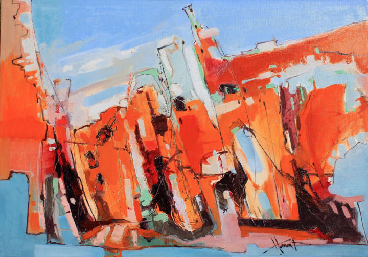 Coast of Morocco - Painting,  27.6x39.4x1.2 in ©2019 by Henadzy Havartsou -                                                        Abstract Art, Abstract Expressionism, Abstract Art, abstract, interior, design, sunny, present, bright, blue, orange, red
